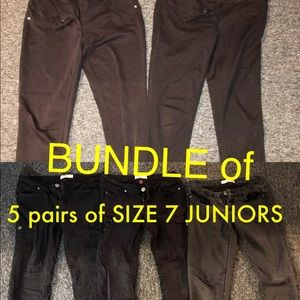 SOLD- Size 7 juniors - 5 pairs of black pants!!!!